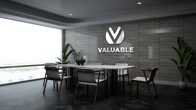 3d-firmenlogo-modell im besprechungsraum des büros mit steinmauer