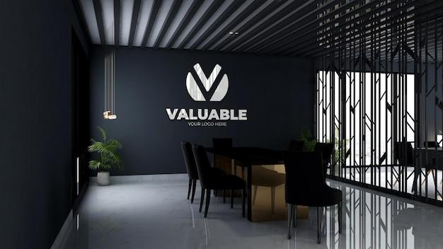 3d-firmenlogo-modell im besprechungsraum des büros