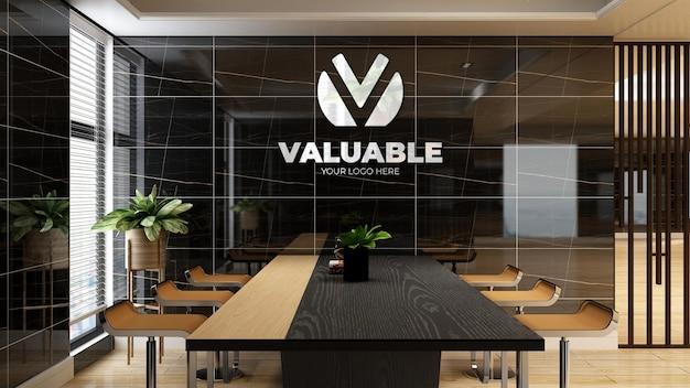 3d-firmenlogo-modell im büro-besprechungsraum mit luxuriösem design-interieur
