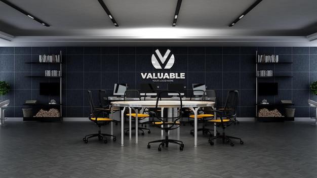 3d-firmenlogo-modell im büroarbeitsbereich