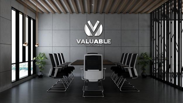 3d-firmenlogo-modell im bürokonferenzraum mit industriedesign-interieur