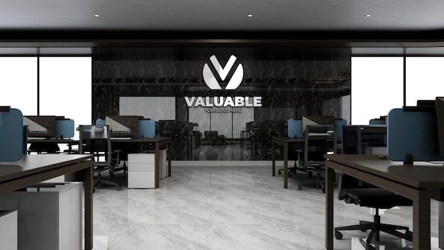 3d-firmenlogo-modell im luxuriösen büroarbeitsbereich
