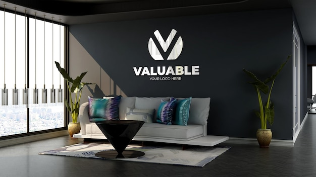 3d-firmenlogo-modell im wartezimmer der bürolobby mit sofa und minimalistischem design