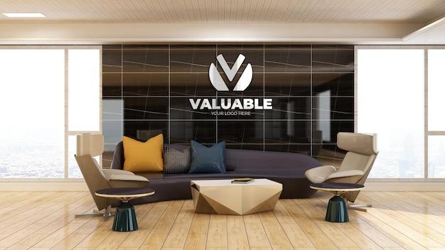 3d-firmenlogo-modell im wartezimmer der bürolobby