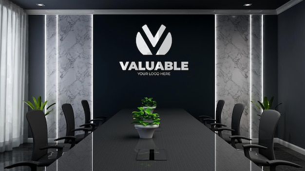 3d-firmenlogo-modell in einem modernen schwarzen bürokonferenzraum