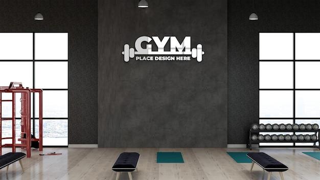 3d-fitnessstudio-logo-modell im fitnessbereich für das sportlertraining mit schwarzer steinwand