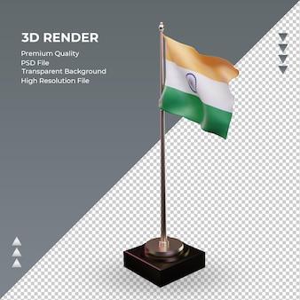 3d-flagge indien, die rechte ansicht rendert