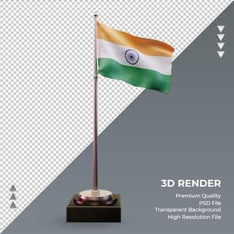 3d-flagge indien rendering vorderansicht