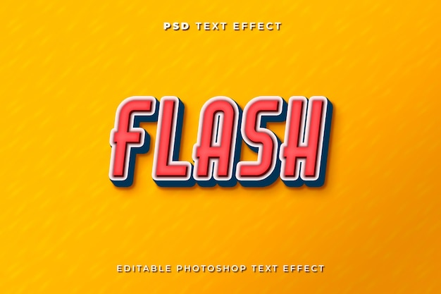 3d-flash-text-effekt-vorlage mit gelbem hintergrund