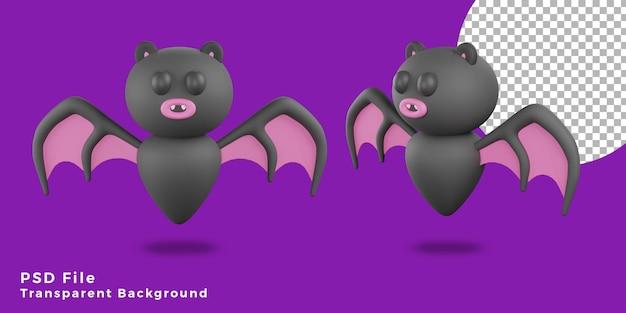 3d fledermäuse beängstigend halloween assets icon design verschiedene winkelbündel illustration hohe qualität