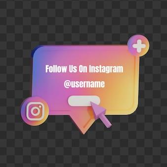 3d folgen sie uns auf instagram social media benutzername mock-up