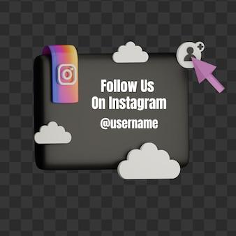 3d folgen sie uns auf instagram social media-benutzernamen-mock-up mit quadrat und cloud
