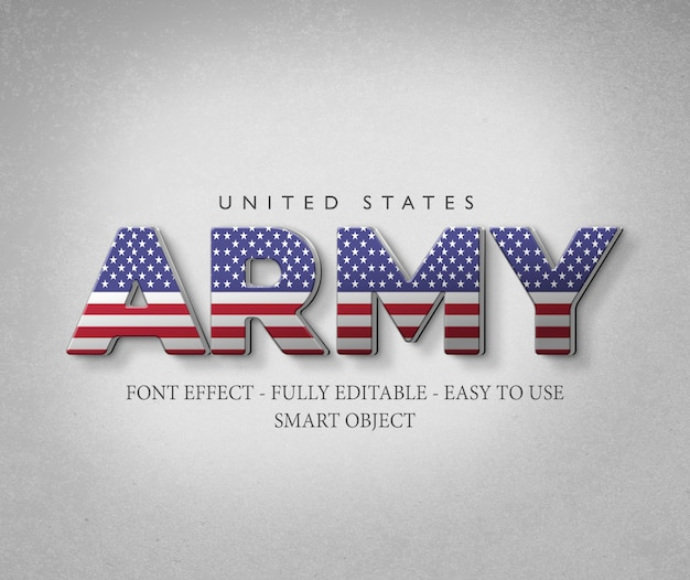 3d font effect america usa flag