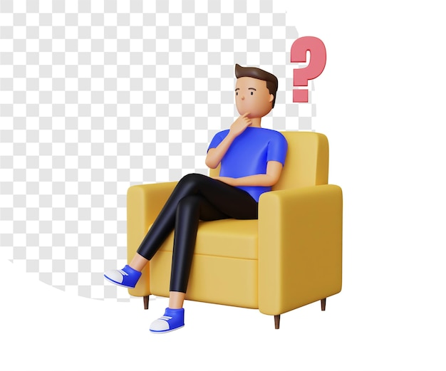 3d-frage mit sitzender illustration des männlichen charakters