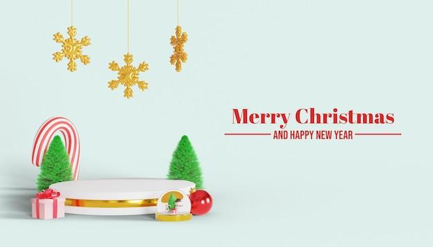3d-frohe weihnachten-podium für produkt