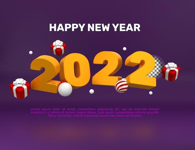 3d frohes neues jahr 2022 banner vorlage