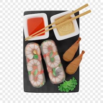 3d-frühlingsrollen in zwei sorten ungebraten und gebraten auf einem schwarzen schieferbrett mit saucen-stäbchen