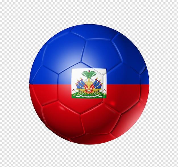 3d-fußball mit haiti-mannschaftsflagge