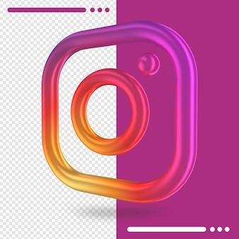 3d gedrehtes logo von instagram im 3d-rendering