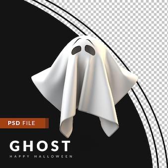 3d-geist mit verängstigtem gesicht ein halloween-konzept