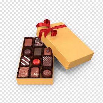 3d gelbe schokoladenbox zurück mit seitenansicht des roten bandes
