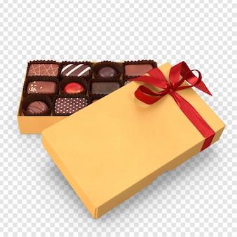 3d gelbe schokoladenkasten-rückseite mit vorderansicht des roten bandes