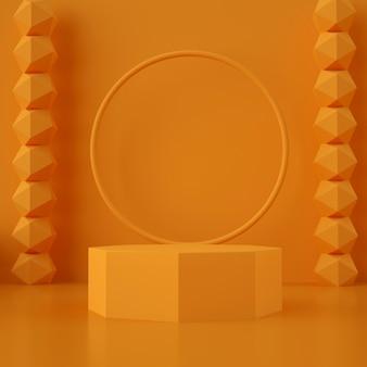 3d geometrische orange bühne für produktplatzierung