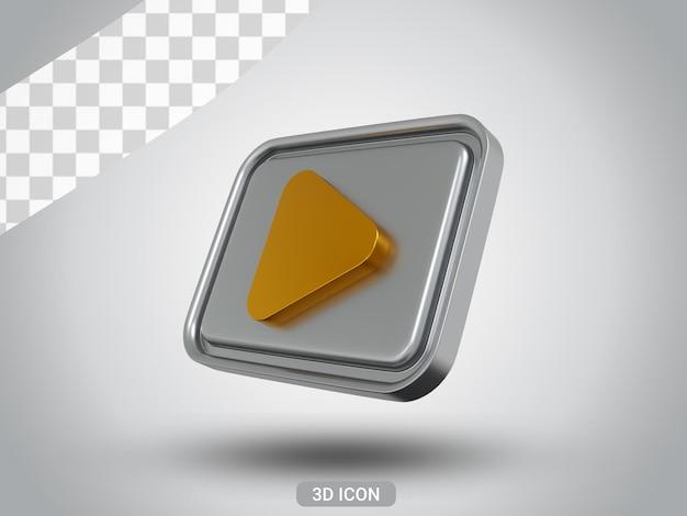3d gerendert play zeichen icon design rechts von unten