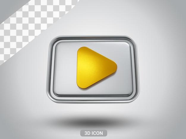 3d gerendert play zeichen icon design vorderansicht