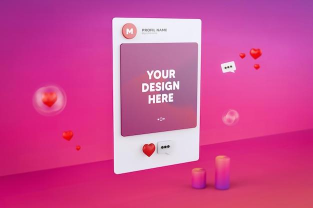 3d-gerenderte instagram-schnittstelle für social-media-post-mockup