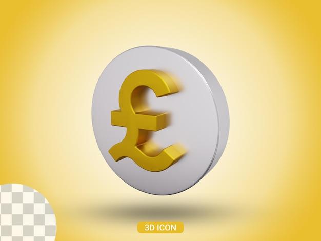 3d gerenderte pfund-symbol-design-seitenansicht