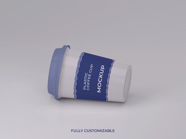3d gerenderte plastikkaffeetasse mockup design