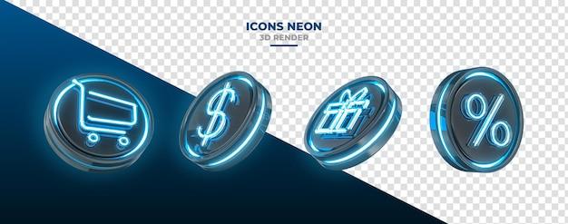 3d-gerenderte symbole mit prozentualem geschenkgeld und einkaufswagen-symbolen