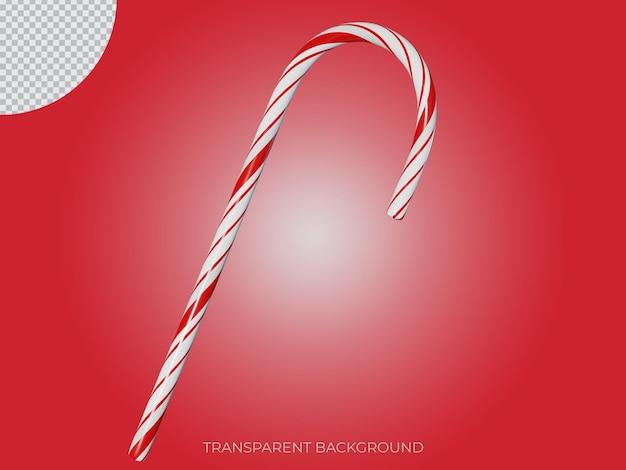 3d gerenderte weihnachten stick süßigkeiten transparenten hintergrundsymbol