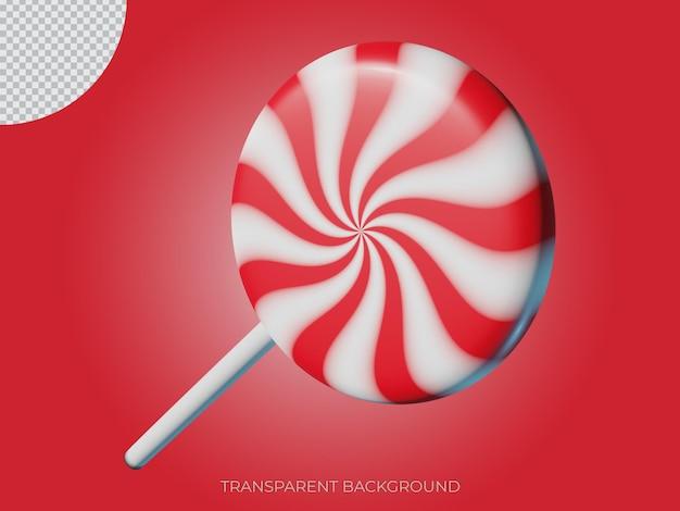3d gerenderten weihnachtssüßigkeit transparenten hintergrund symbol seitenansicht von oben