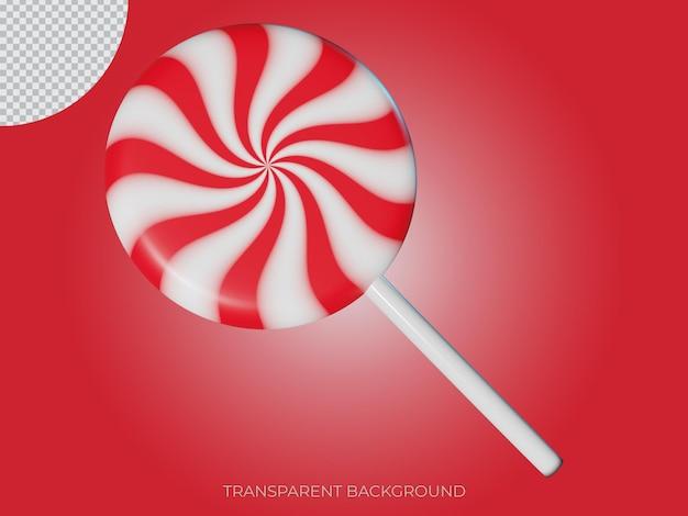 3d gerenderten weihnachtssüßigkeit transparenten hintergrund symbol seitenansicht