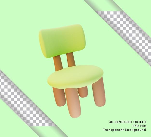3d gerenderter süßer matcha grüner stuhl