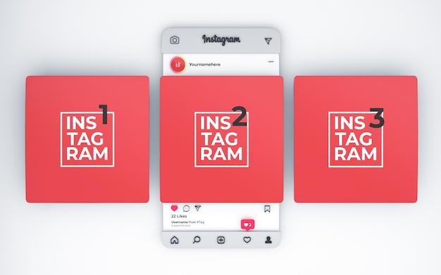 3d gerendertes mockup gebogene instagram posts draufsicht