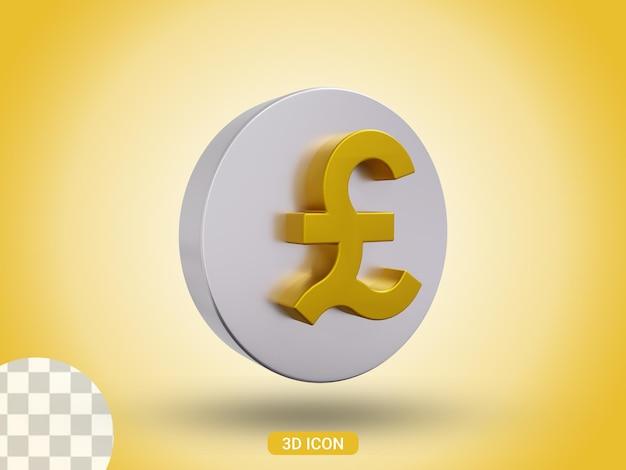 3d gerendertes pfund-icon-design