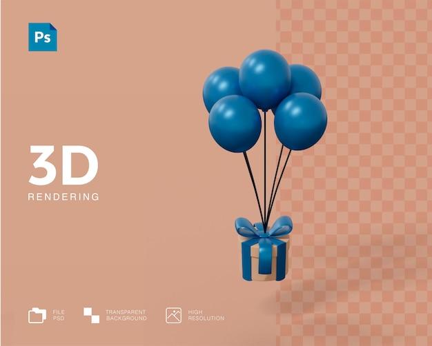 3d-geschenkbox mit ballonkonzept-rendering