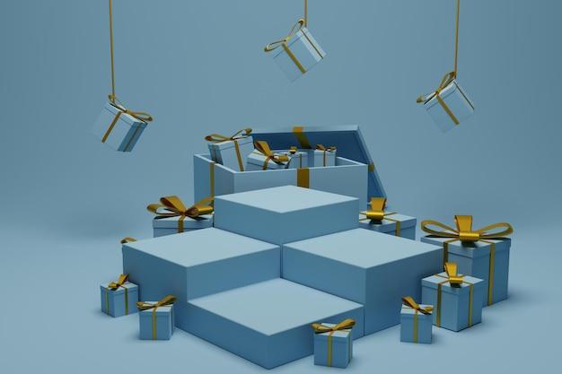 3d-geschenkbox mit podiumshintergrund