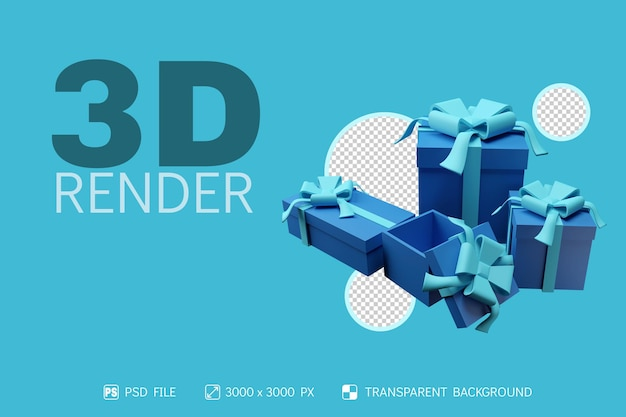 3d-geschenkboxen mit isoliertem hintergrund