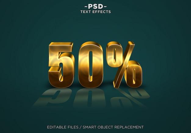 3d gold rabatt 50% effekte bearbeitbarer text