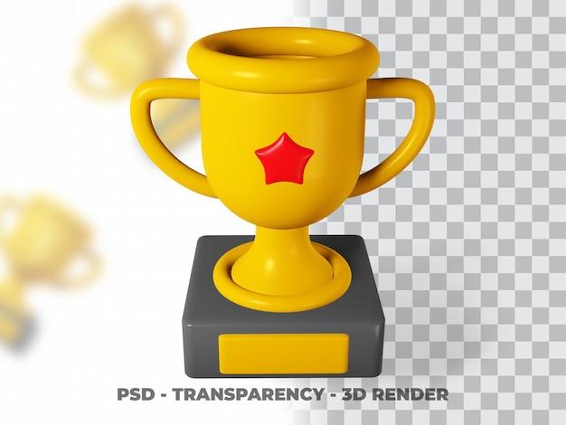3d gold trophy mit transparenz render modeling premium psd