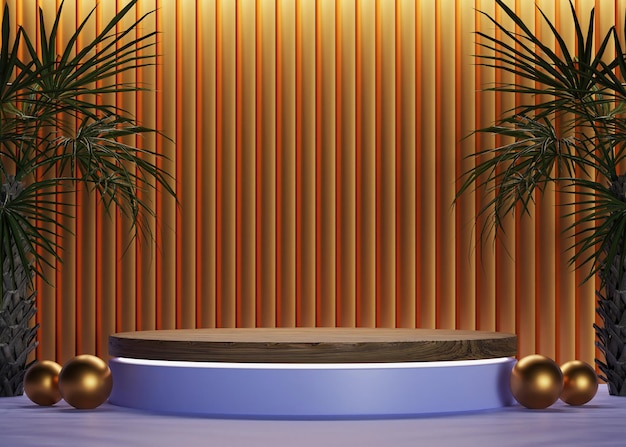 3d goldenes zylinder-holzpodium in blau mit luxuriöser wandkulisse und bäumen für mockup-display
