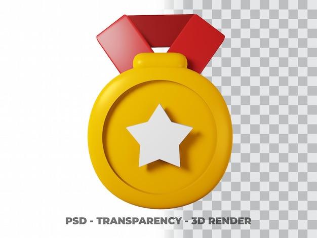 3d-goldmedaille und band mit transparentem hintergrund