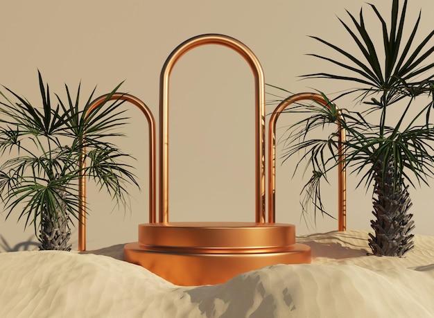 3d-goldpodest mit ringen und tropischem minimalem mockup in sand für die produktpräsentation