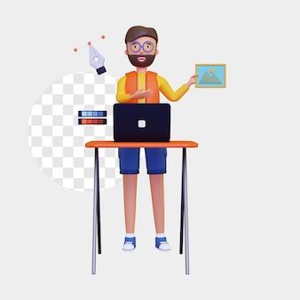 3d-grafikdesigner, der ein zeichnungsdesignergebnis hält