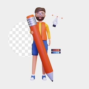 3d-grafikdesigner, der einen großen bleistift hält