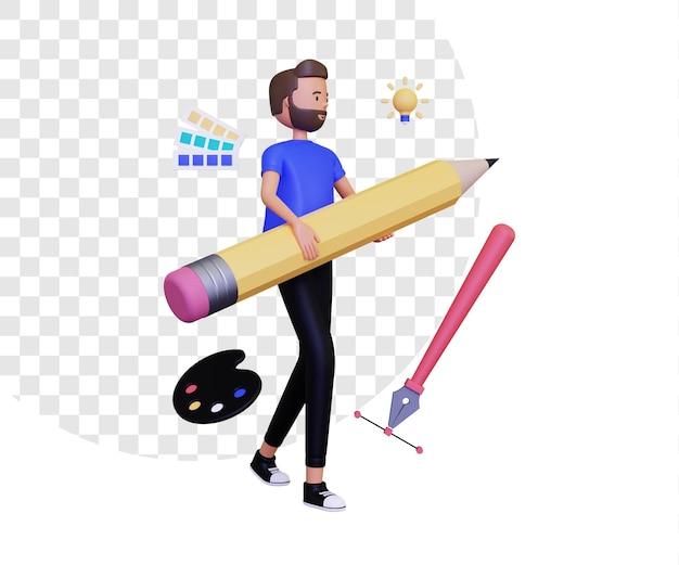 3d-grafikdesigner mit einem männlichen charakter, der einen bleistift und ein stiftwerkzeug-symbol hält